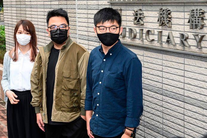 Activisten (vlnr) Agnes Chow, Ivan Lam en Joshua Wong.