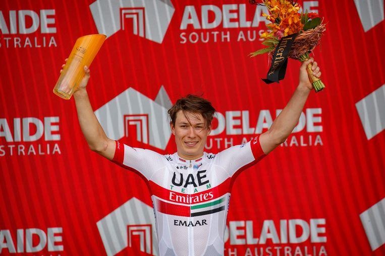 Jasper Philipsen won vorig jaar een rit in Australië.