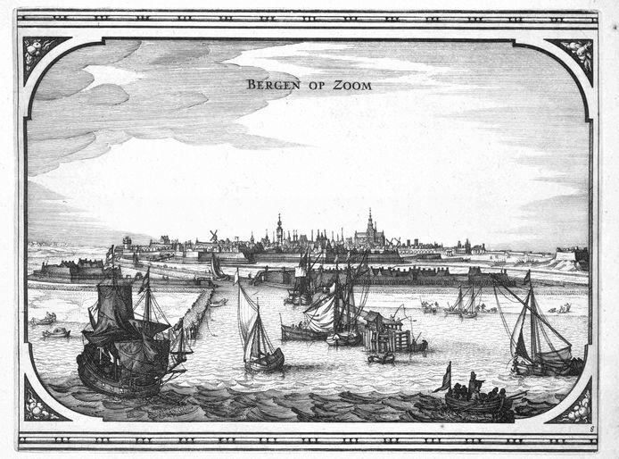 Gezicht op Bergen op Zoom vanaf De Schelde, 1656.