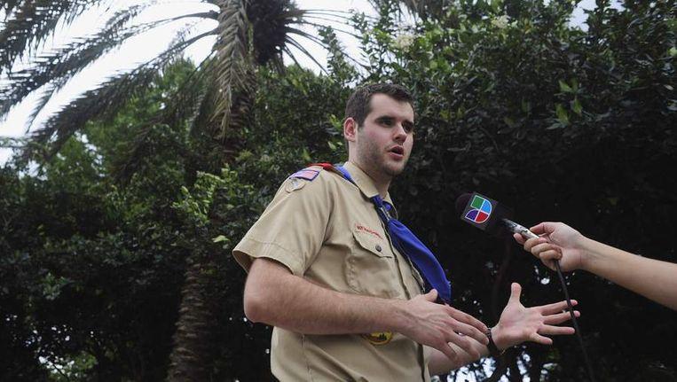 Zach Wahls (20), die de discussie over homoseksualiteit in de Amerikaanse scoutingbeweging aanzwengelde. Wahls is zoon van homoseksuele ouders. Beeld reuters