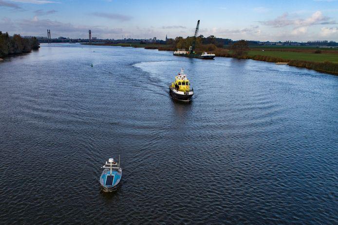 De droneboot moet binnenkort volledig zelfstandig op pad kunnen om metingen te verrichten op de IJssel.
