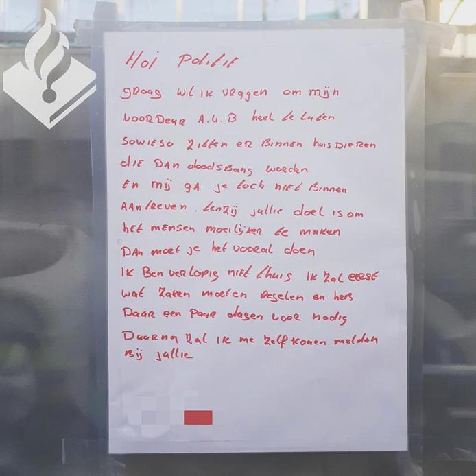 Het briefje op de deur.