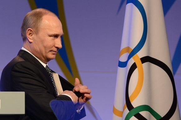 Poetin bij de opening van de Olympische Winterspelen in Sotsji, in 2014.