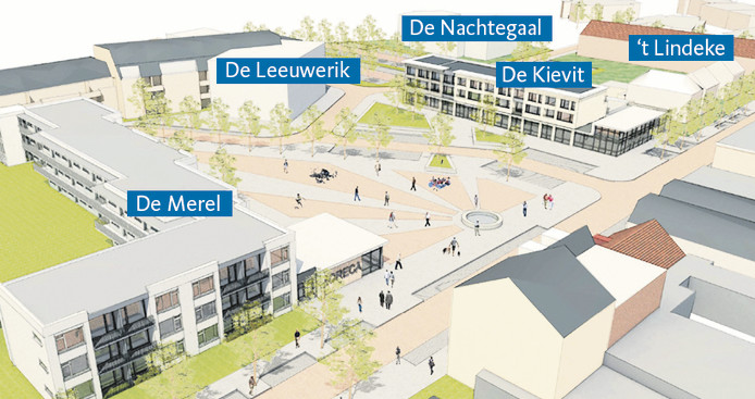 Impressie van het nieuwe dorpsplein in Halsteren.