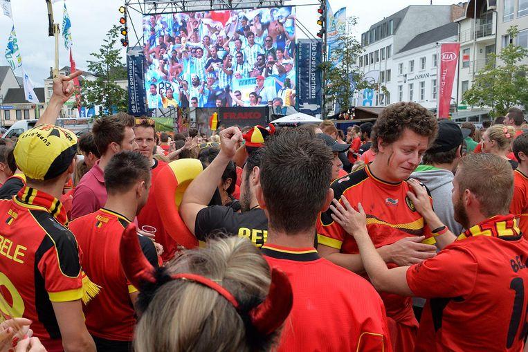 De Markt vorig jaar: voetbalfans konden het EK volgen op groot scherm.