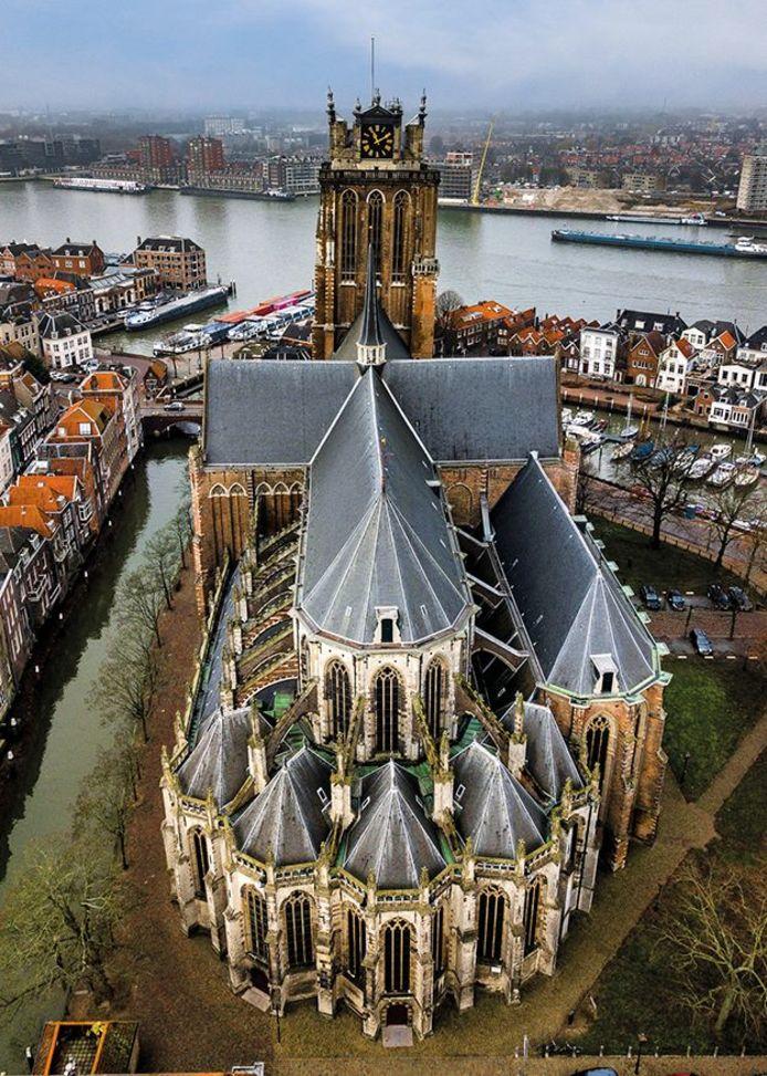 Grote Kerk Dordrecht, van boven gezien.