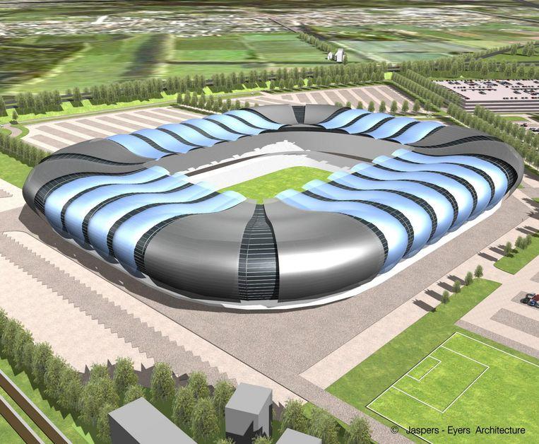 Een van de schetsen van wat het nieuwe stadion van Club Brugge moet worden.