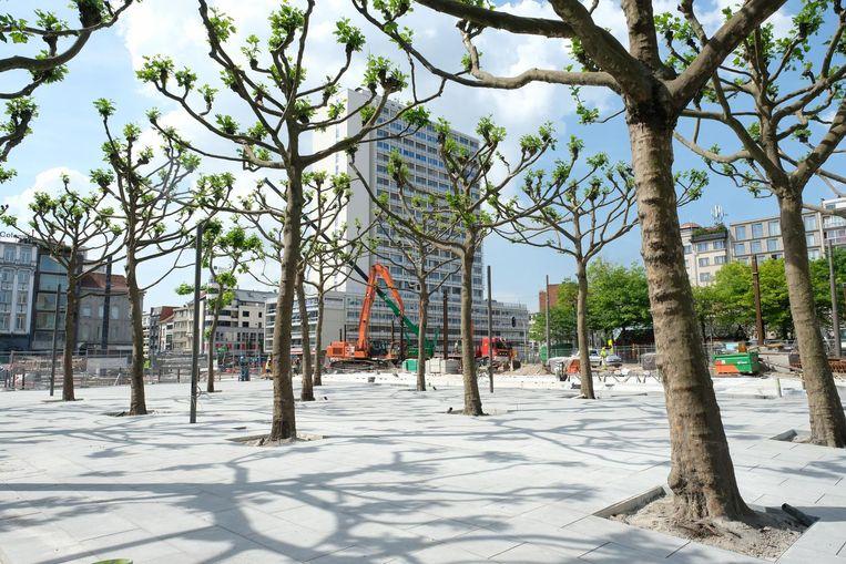 De platanen op het plein zijn gebleven.