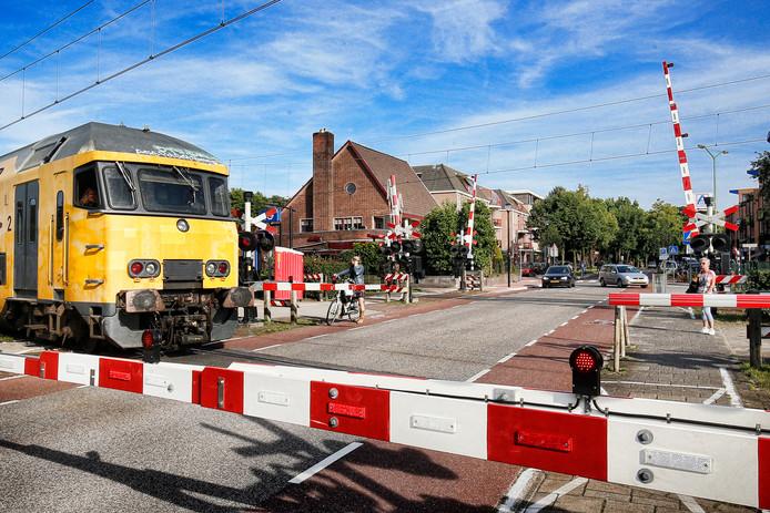 De spoorwegovergang naast station Den Dolder.