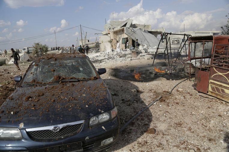 Verwoesting in Maasran, op het platteland van Idlib, na luchtaanvallen van de Russen. Beeld reuters