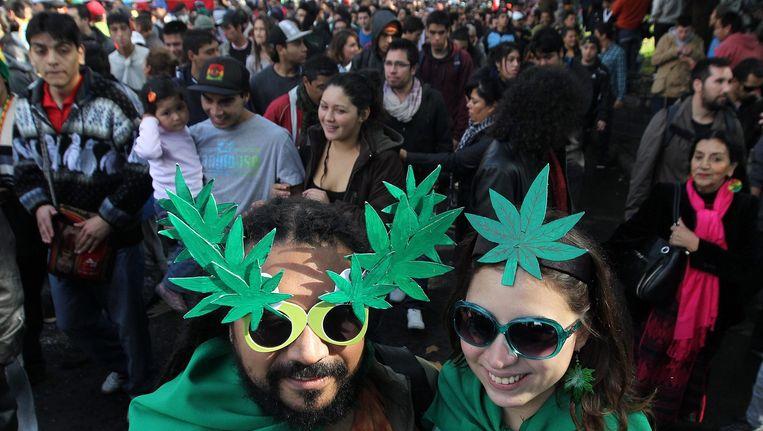 Een demonstratie ter promotie van het legaliseren van wietgebruik in Chili in 2013. Beeld anp