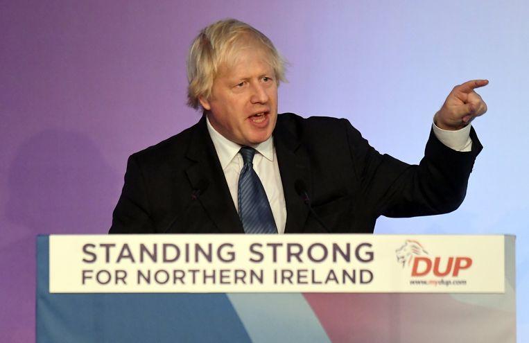 Boris Johnson sprak vorig jaar op een conferentie van de DUP in Belfast.