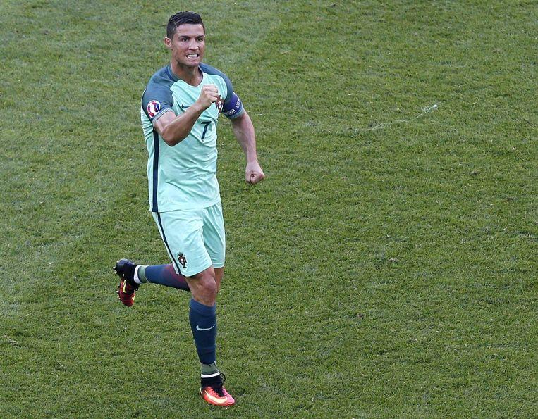 Ronaldo viert doelpunt tegen Hongarije. Beeld epa