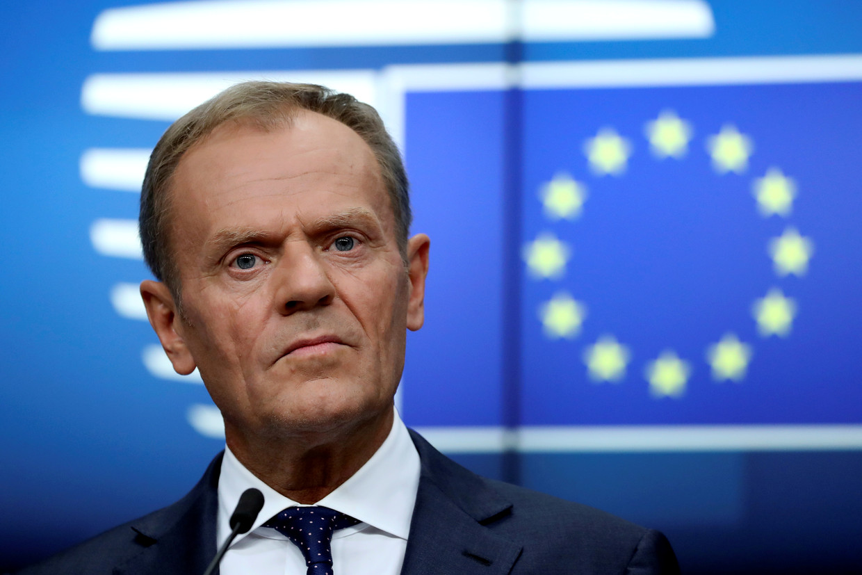 Europees president Donald Tusk is naar eigen zeggen gematigd optimistisch dat de Europese leiders vanavond een akkoord bereiken.