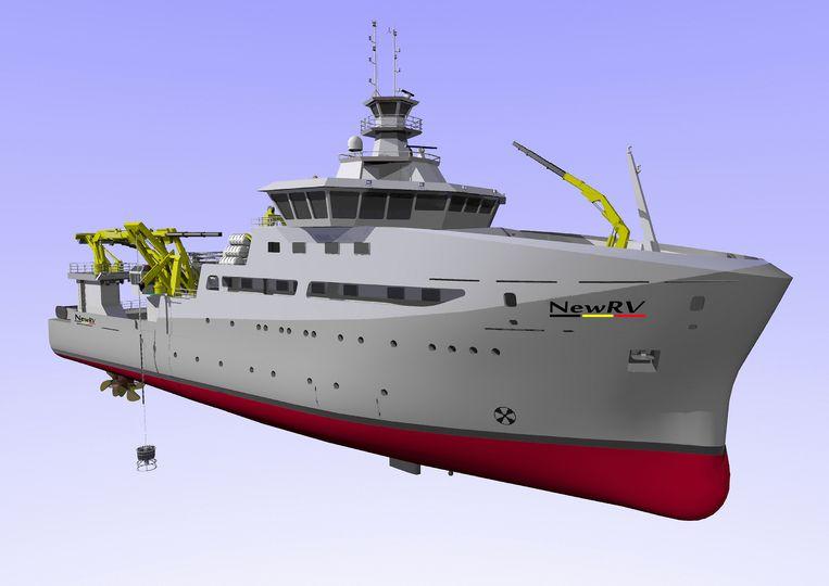 Een met de computer gemaakte illustratie van het nieuwe onderzoeksschip.
