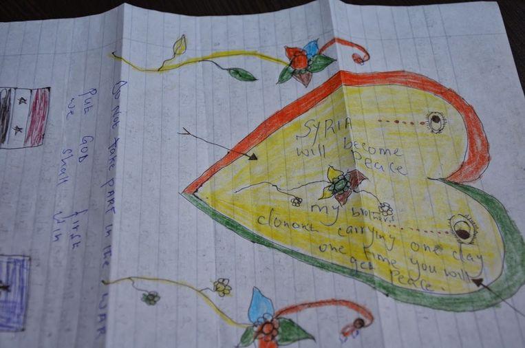 Een van de brieven die de kinderen aan elkaar schreven.