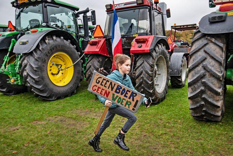 Boerenprotest op het Malieveld in Den Haag. Beeld null