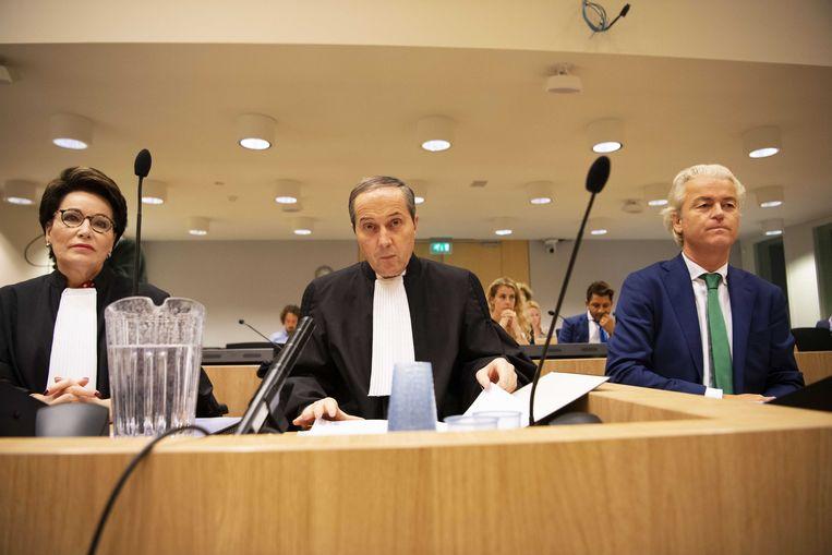 PVV-leider Geert Wilders in de rechtbank van Schiphol.  Beeld ANP - Olaf Kraak.