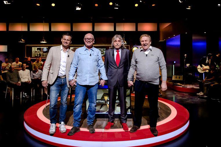 De mannen van 'Veronica Inside' (vlnr.): Wilfred Genee, Rene van der Gijp, Johan Derksen en Jan Boskamp.