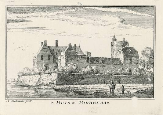 Gravure van Huis te Middelaar uit 1670.
