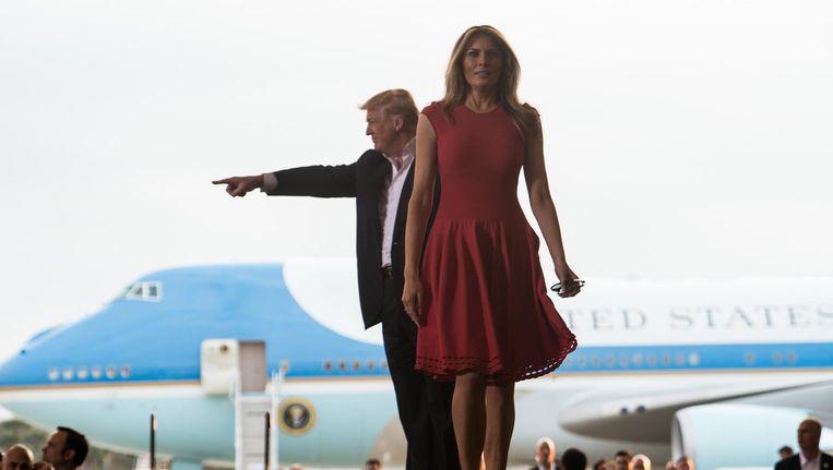 President Trump en zijn voruw Melania in Florida, afgelopen zaterdag. Beeld afp