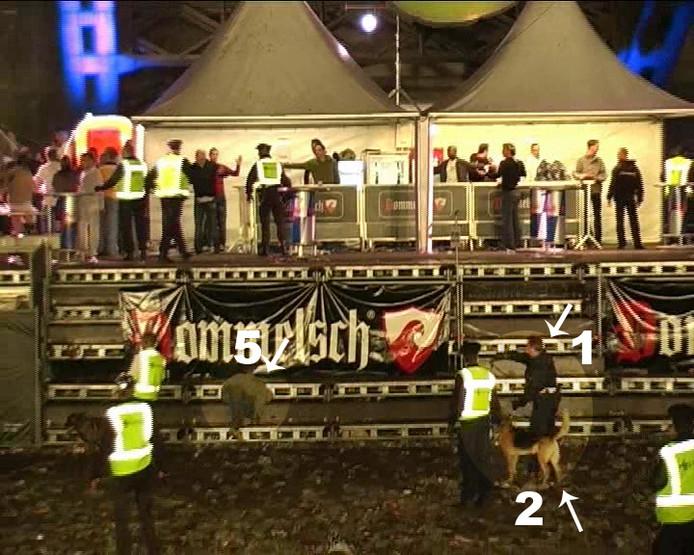 Screenshot van de beelden die gemaakt zijn tijdens de Vierdaagserellen. Rechts is Paul van Dreumel te zien met hond Kimbo.