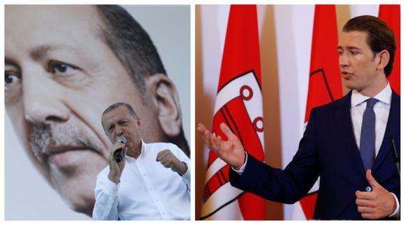 De Turkse president Erdogan sprak vandaag op een verkiezingsbijeenkomst in hoofdstad Ankara. Foto rechts: de Oostenrijkse kanselier Sebastian Kurz maakte het regeringsbesluit vrijdag bekend.
