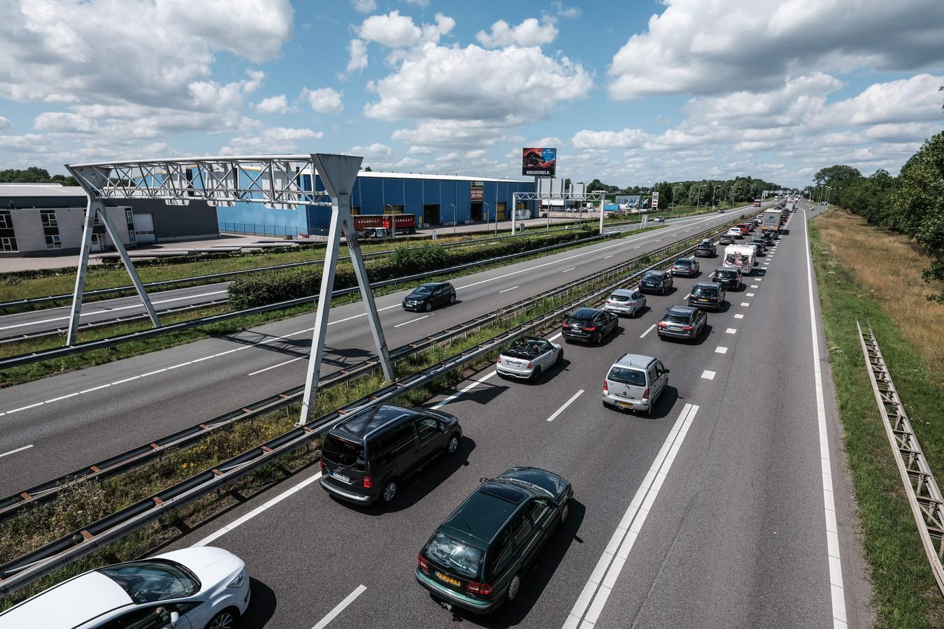 Een eerdere file op de A12 tussen de Duitse grens en Arnhem.