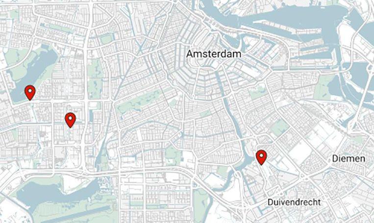 De plaatsen in Amsterdam waar de verkrachter toesloeg.