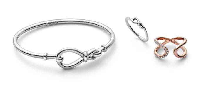 """Le bracelet """"Silver infinity"""" à 69 euros, la bague """"Silver infinity"""" à 29 euros et la bague """"Rose infinity"""" à 79 euros."""