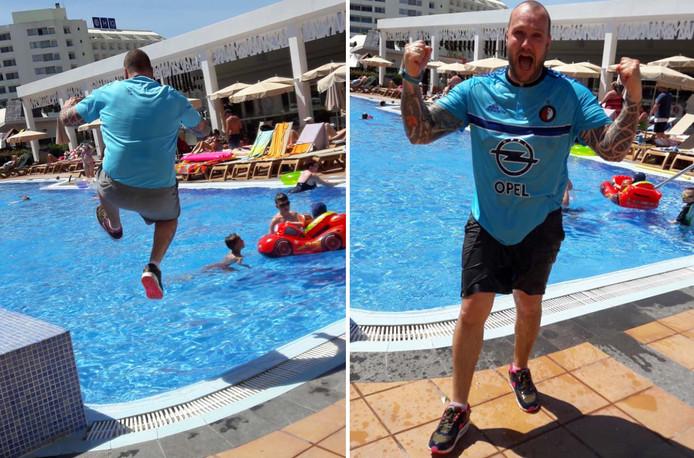 Maarten Limburg maakt een sprong van plezier in het zwembad.