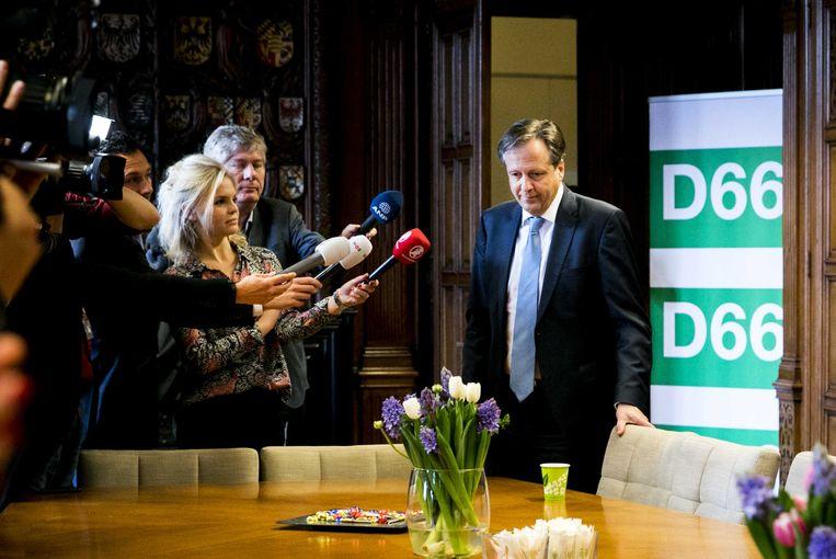 Alexander Pechtold (D66) voorafgaand aan een overleg over de uitslag van de gemeenteraadsverkiezingen.  Beeld ANP
