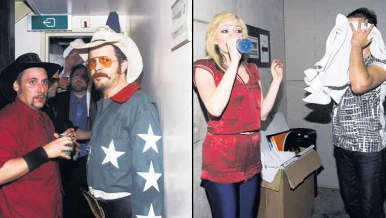 Links: White Cowbell Oklahoma blaast even uit voor de toegift. Rechts: De The Ting Tings direct na hun optreden. Foto's Daniel Cohen Beeld