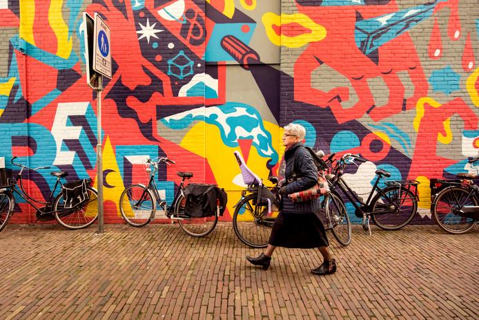 De Bleekstraat, Blind Wall van de hand van Pedro Campiche (PT), een visuele interpretatie van de hedendaagse consumptiemaatschappij.