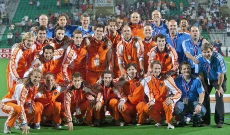 De Nederlandse hockeymannen tijdens het WK in India vorige maand. Ze werden derde. ANP Beeld