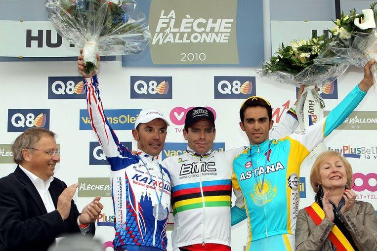 Het podium van de 74ste Waalse Pijl: Joaquin Rodriguez, Cadel Evans, Alberto Contador.
