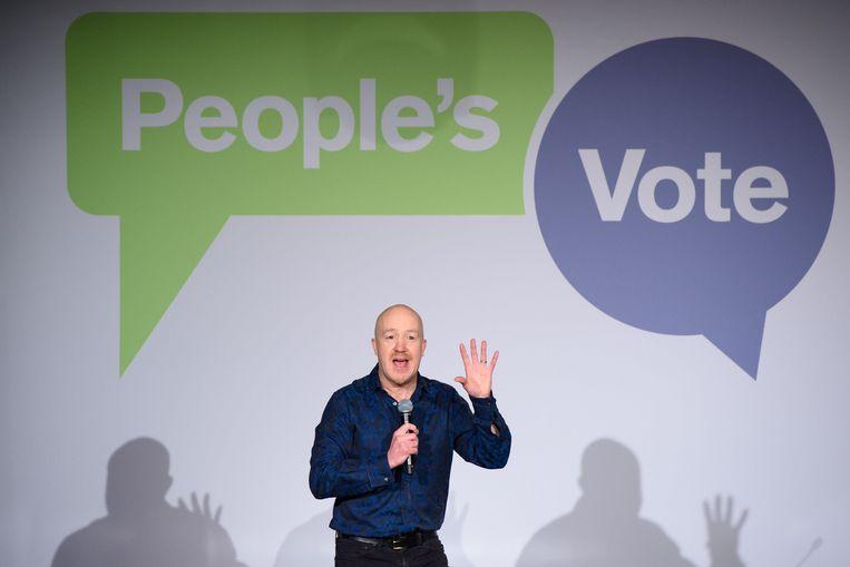 Komiek Andy Parsons op de rally voor het referendum van de 'stem van het volk' in Londen.