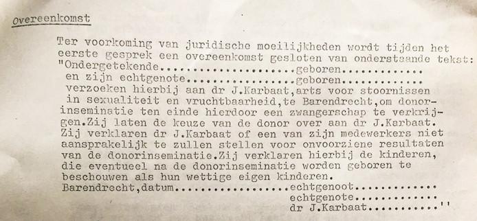 Overeenkomst tussen Karbaat en wensouders.