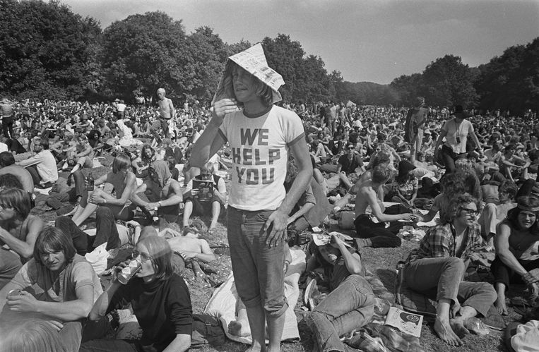 Holland Pop Festival in het Kralingse Bos, Rotterdam, 1970. Beeld Nationaal Archief Anefo