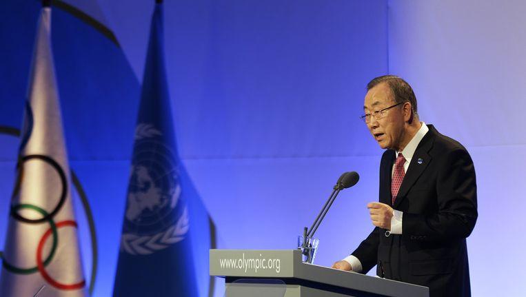 VN-chef Ban Ki-moon spreekt het Olympisch Comité toe vandaag in Sotsji Beeld ap