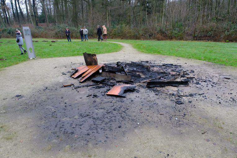 Wat er over bleef in januari na de brandstichting.
