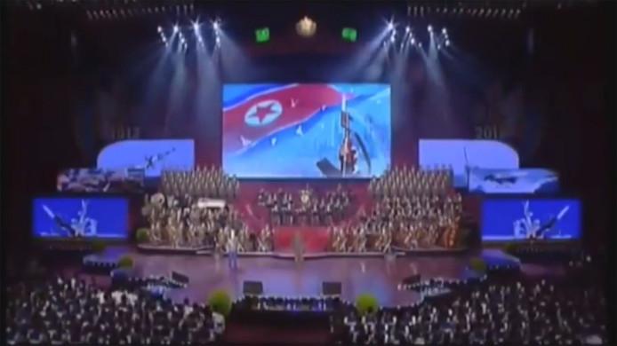 De musical werd dit weekend opgevoerd, een nag na een grote militaire parade in de hoofdstad Pyongyang.