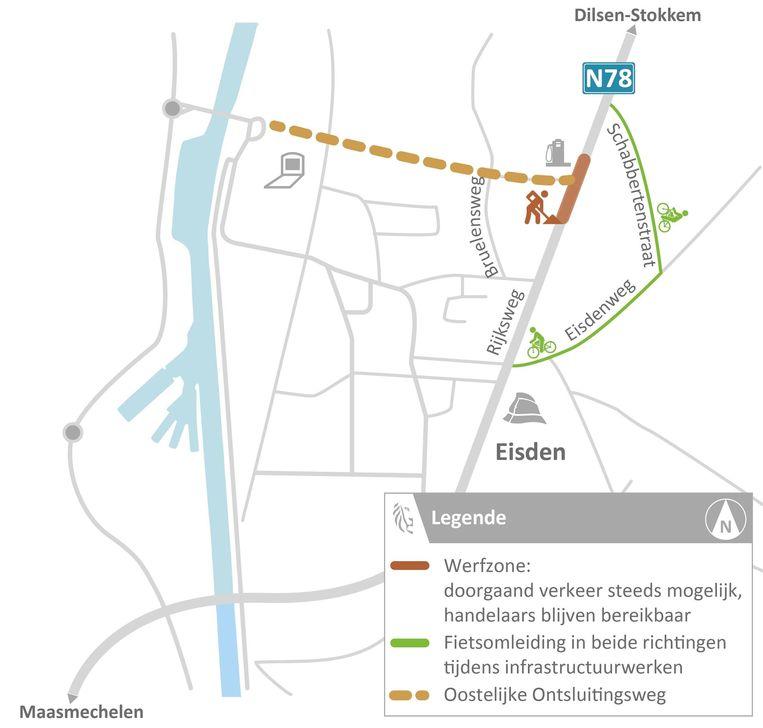 Langs de Rijksweg (N78) in Eisden (Maasmechelen) starten vanaf eind volgende week de voorbereidende werken voor de aanleg van een nieuw kruispunt.