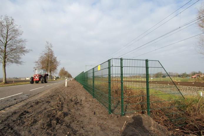 Het eind van het hek richting Liesbos. foto
