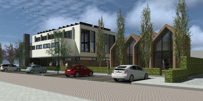 Een impressie van het project 'Buurten in Besoyen'  met de verbouwde gymzaal en rechts de vier micro-woningen.