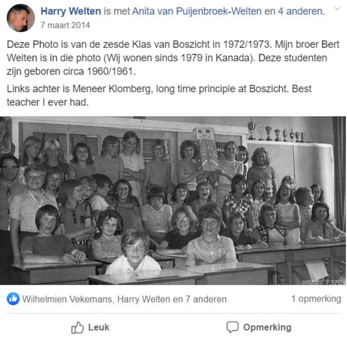 Klassenfoto van Boszicht, door Harry Welten op Facebook geplaatst