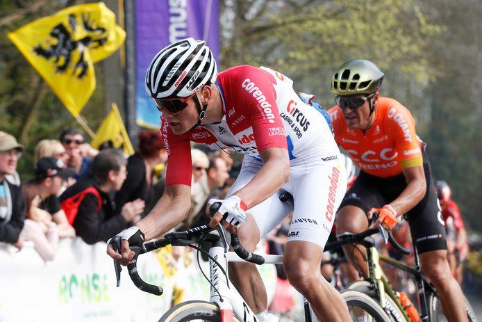 Mathieu van der Poel tijdens de Ronde van Vlaanderen van vorig jaar.