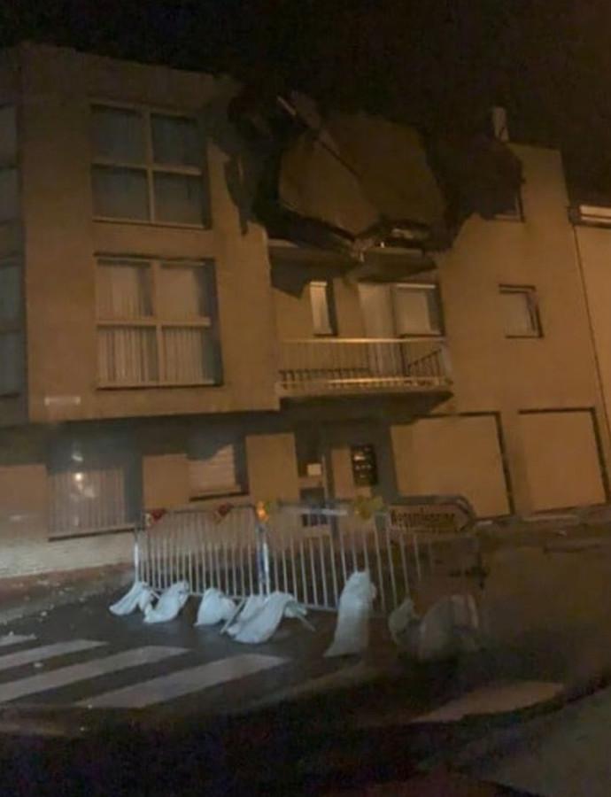 De bewoners van dit gebouw in Wenduine moesten geëvacueerd worden.