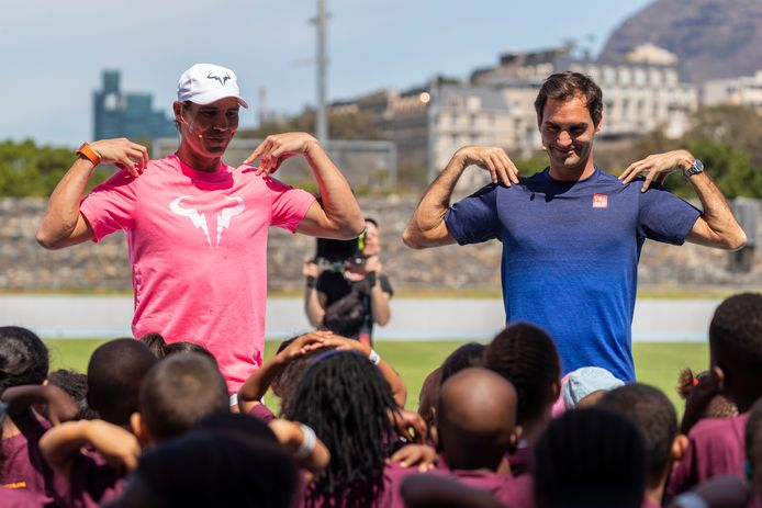 Roger Federer en Rafael Nadal in Kaapstad.