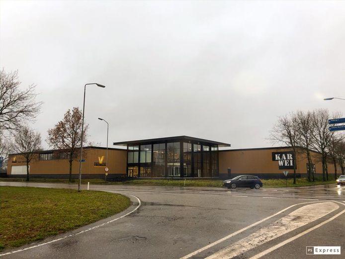 De huidige vestiging van Vromans (links), naast de Karwei (rechts) in Goirle.